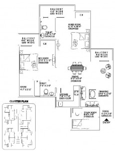 2 Bedrooms + Drawing + Dining + Kitchen + 2 Toilets + Balconies Saleable Area 845.00 Sq. Ft.