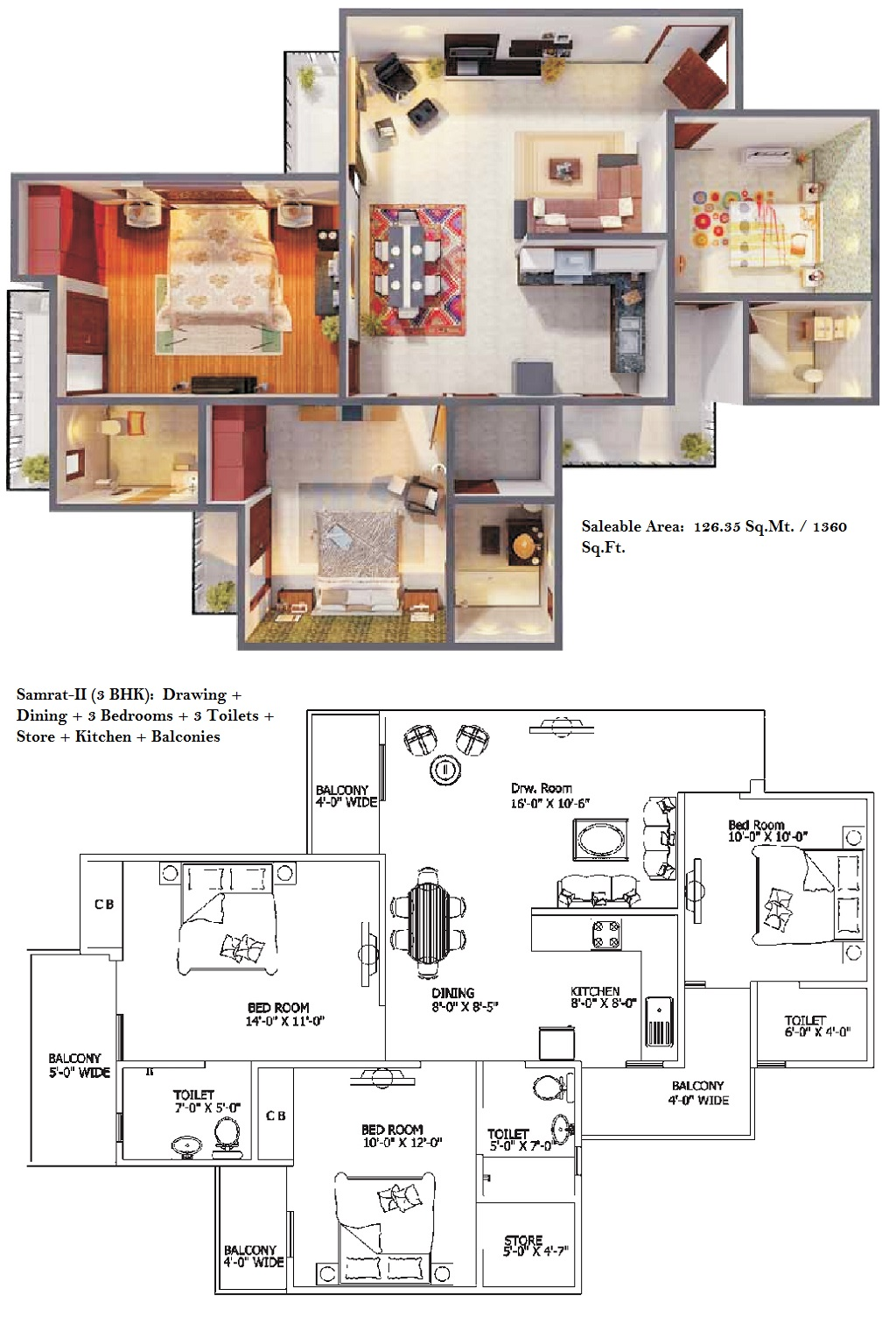 3bhk apartment at gaur city 1st avenue noida extension for Cost to build a 1400 sq ft house