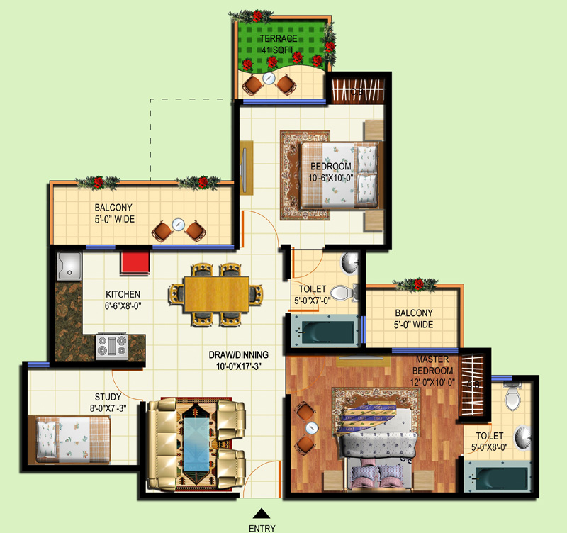 2 bhk apartment offered by amrapali tropical garden for Tropical floor plans