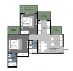 2 BED+ 2 TOILET floor-plan-1