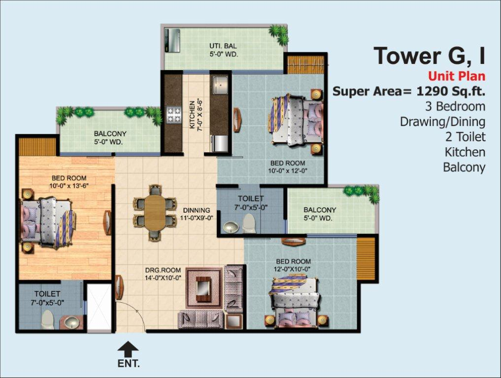 3 Bhk Ready To Move Flats In Noida Extension By Ajnara Homes